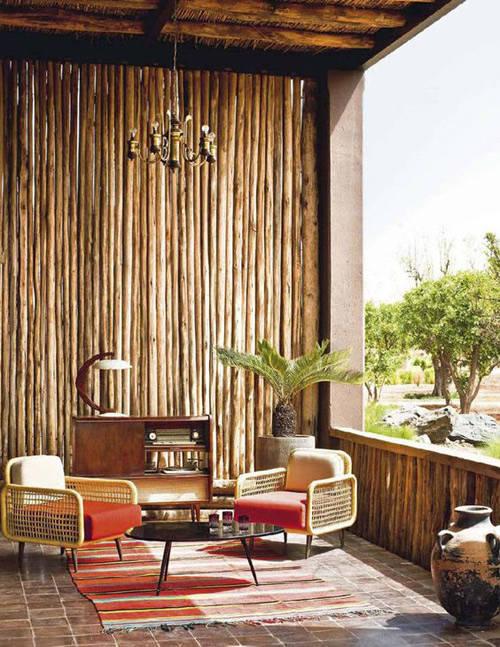 muebles de mimbre para la decoración de la terraza