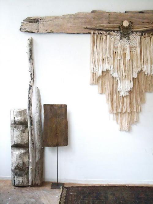 Troncos de madera en la decoración