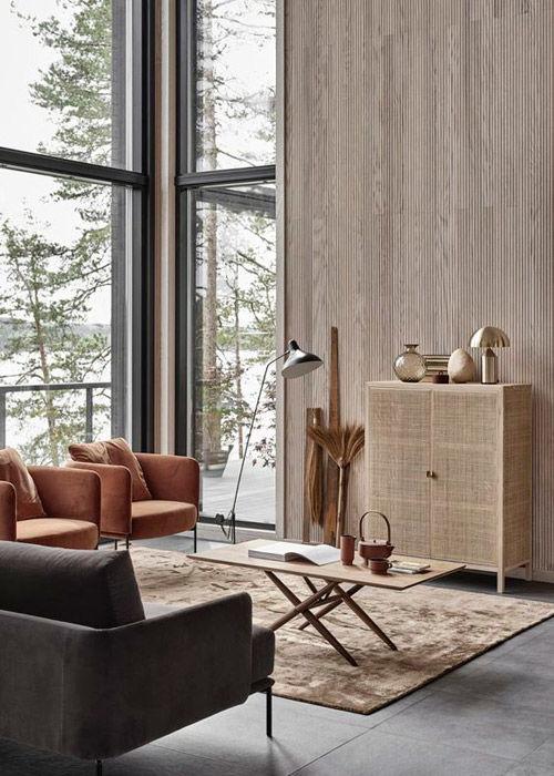 Salón con muebles y alfombras de color marrón