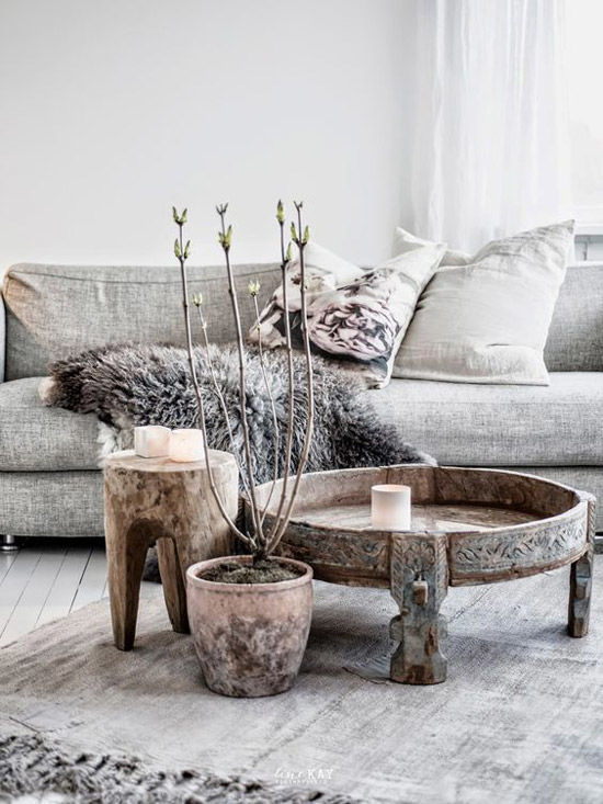 Texturas como la madera y el lino en el estilo nórdico