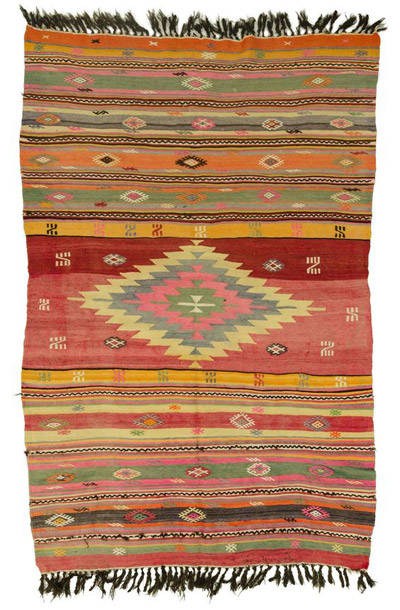Antiguo kilim de lana de los pueblos nomadas de Turquía