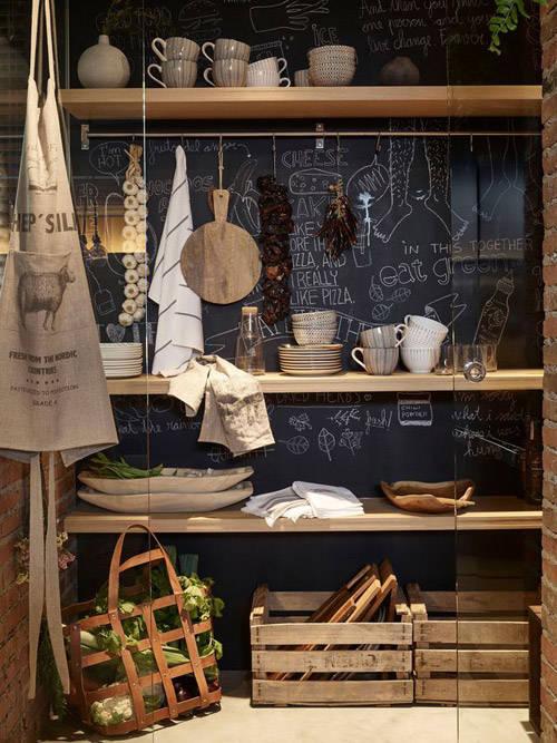 La cocina y la decoración con pared de pizarra