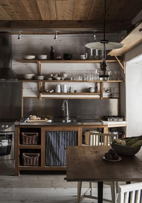 diseño de cocinas con estantes a la vista