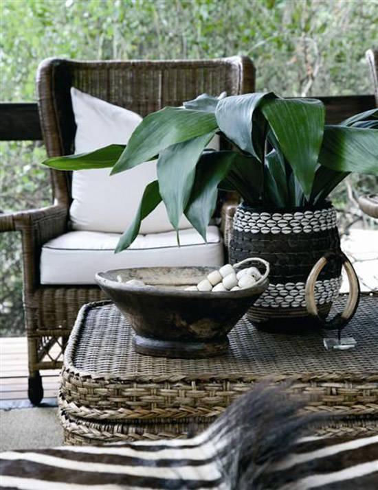 Muebles de rattan en la decoración africana