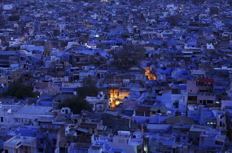 Vistas nocturnas de la ciudad de Jodhpur