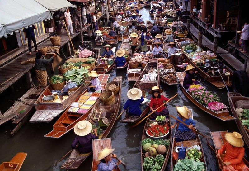 Damnoen Saduk, mercado flotante en Tailandia
