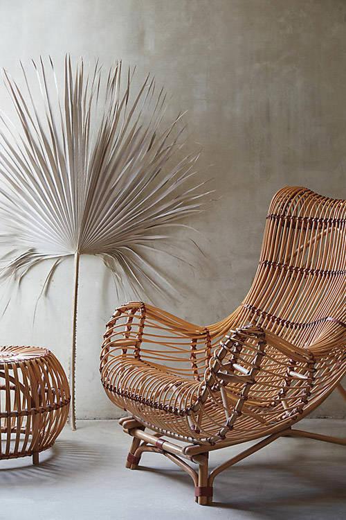 Clásica silla de rattán