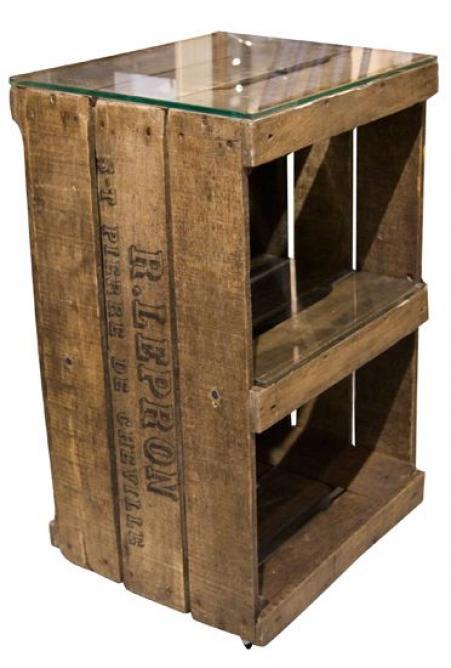 Mesita esquinera hecha con una caja de madera