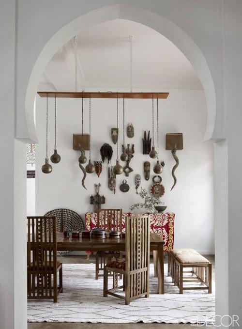 decoración de interiores con mascaras africanas