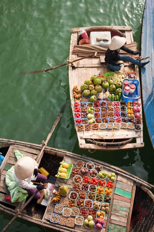 Mercado flotante de Cai Rang en el delta del Mekong