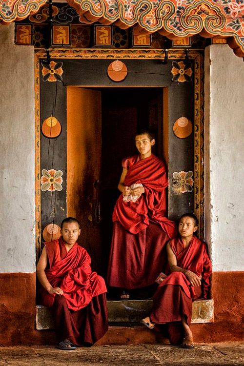 Novicios budistas en Bután