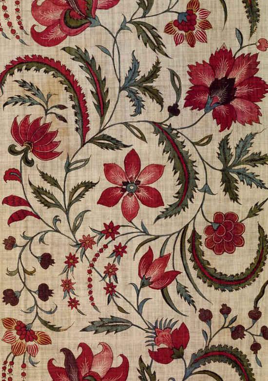 Motivos florales en las telas de la India