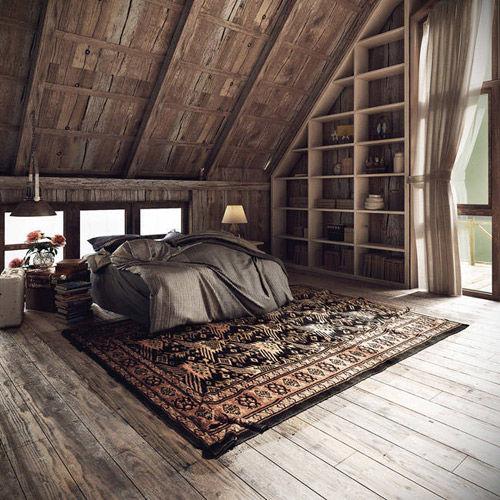 Habitación con alfombra de pelo largo de color marrón