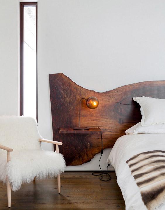 Cabecero de cama de madera lacada