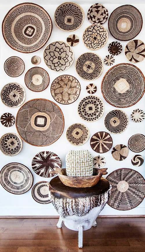 decoración de espacios interiores con cestas de áfrica