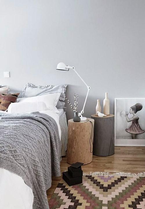 decoración de dormitorios con alfombras estampadas kilim de pelo corto