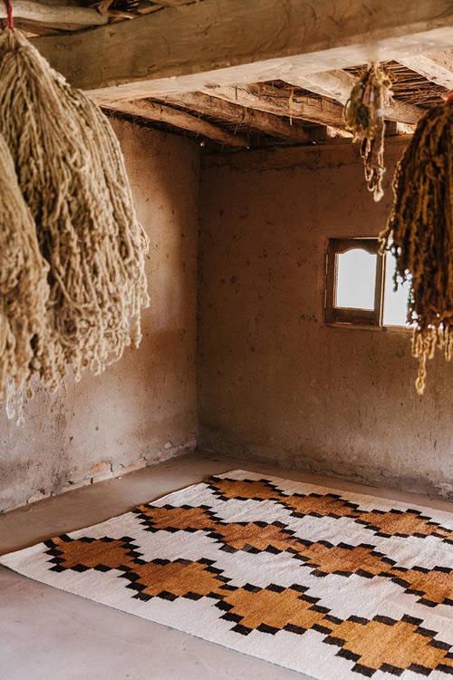 patrones geométricos en las alfombras etnicas