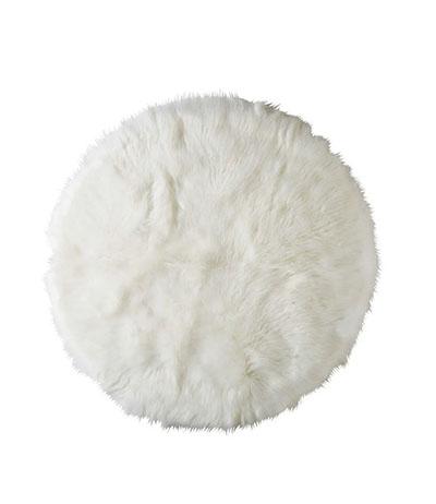 alfombra de pelo largo redonda blanca