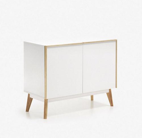 mueble aparador pequeño de color blanco y 2 puertas