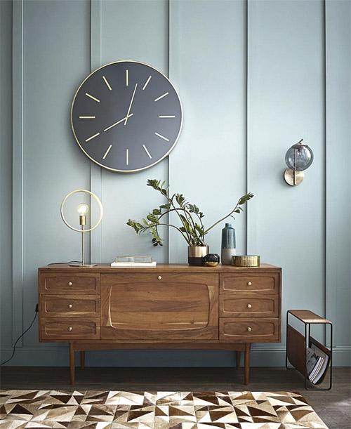 aparador de madera de estilo nórdico vintage con cajones y puerta