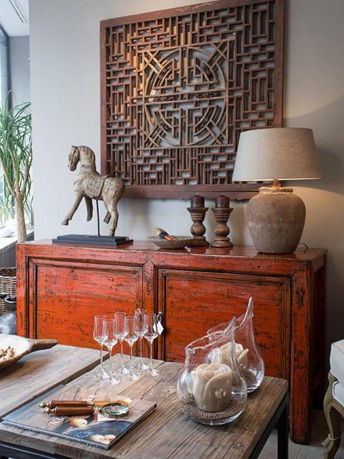 aparador de estilo oriental para decorar el comedor de casa