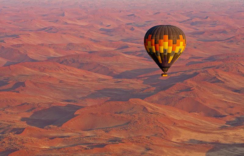 safari en globo aerostático en Namibia