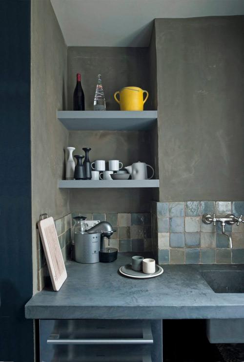 cocina con baldosas zelliges de color azul