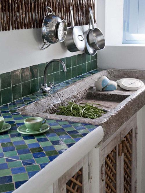cocinas rústicas con mosaicos de baldosas