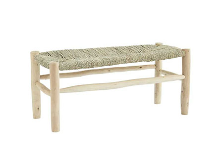 banco baño madera y fibra natural