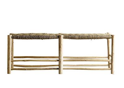 banqueta de madera y fibra natural