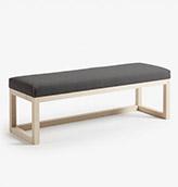 asiento de madera para el jardín tapizado