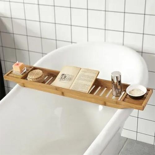 bandeja de ducha de madera de bambú