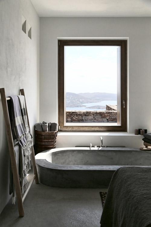Bañera de cemento pulido