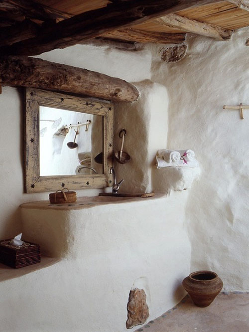 Lavabo en una casa de campo ibicenca