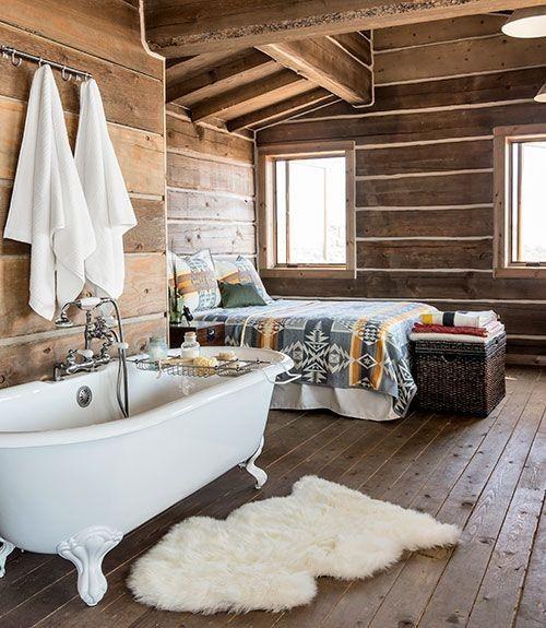 Baño en una casa de madera