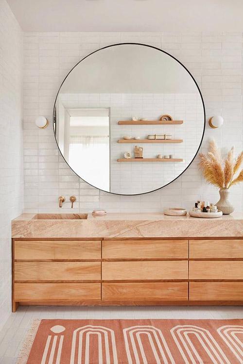 decoración de cuarto de baño con textiles
