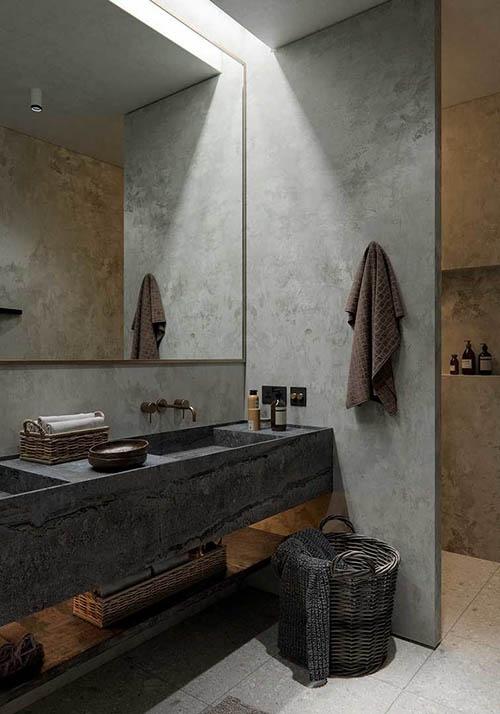 Estilo y diseño wabi en un cuarto de baño
