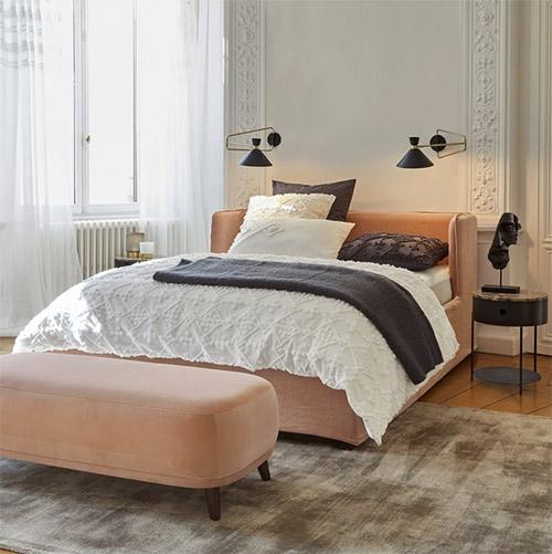 banqueta de pie de cama de terciopelo