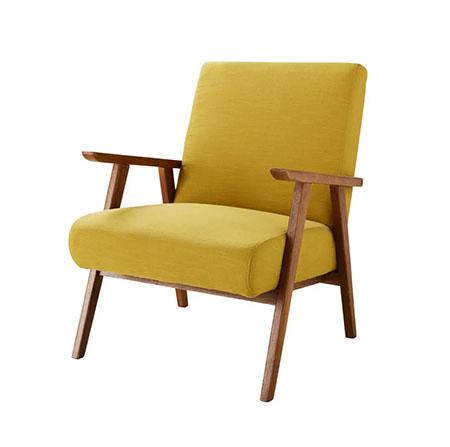 butaca vintage de color amarillo