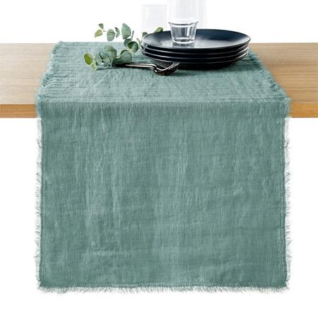 camino de mesa de lino lavado deshilachado