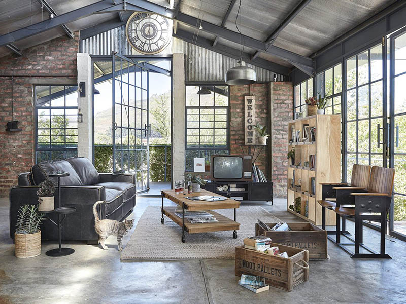paredes de ladrillos y muebles vintage en la decoración industrial
