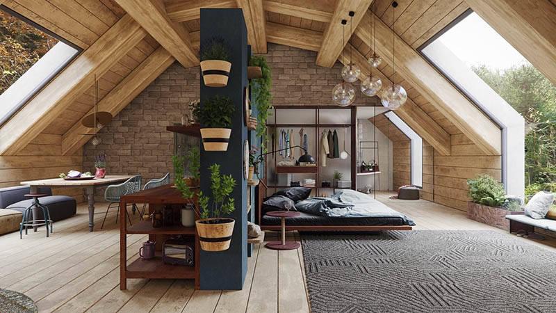Una casa rústica tipo loft