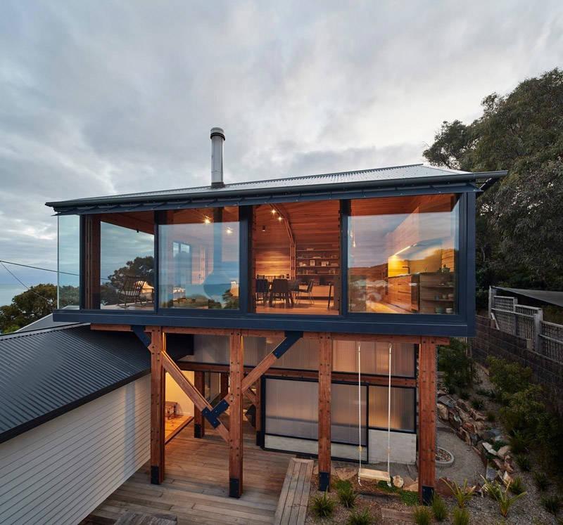 Casa de madera en la playa