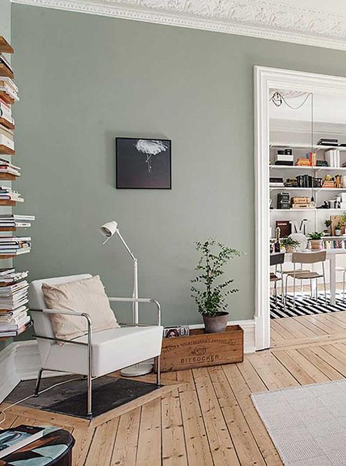 cómo decorar un salón en color verde