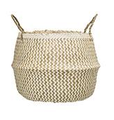 cesta de algas marinas de color blanco y beige