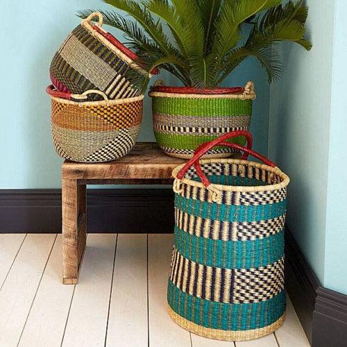 canastos de colores africanos para decorar el hogar