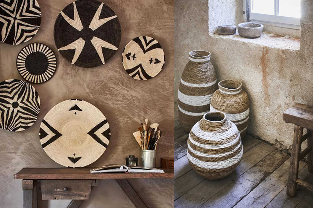 decoración con cestos y canastos africanos