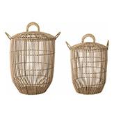 cestas altas de ratán para la decoración de casa