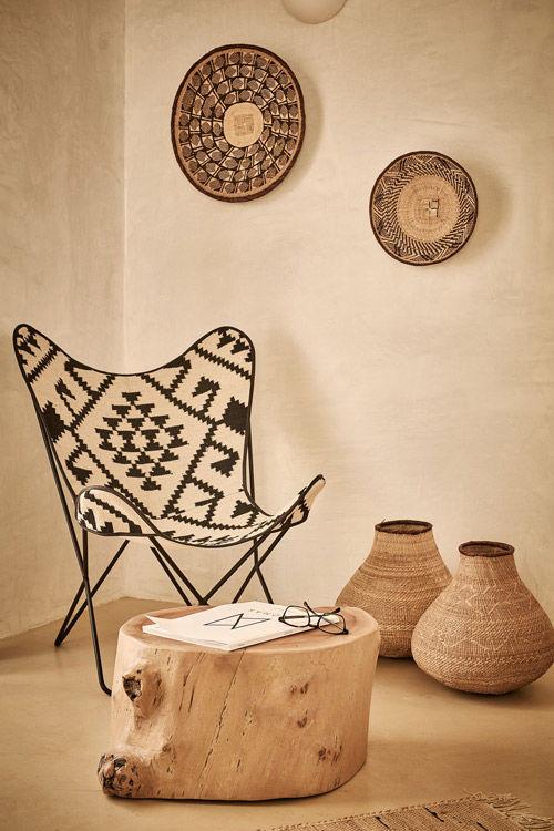 cestas, cestos y motivos africanos en la decoración del hogar