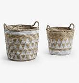 cestas de mimbre de color blanco